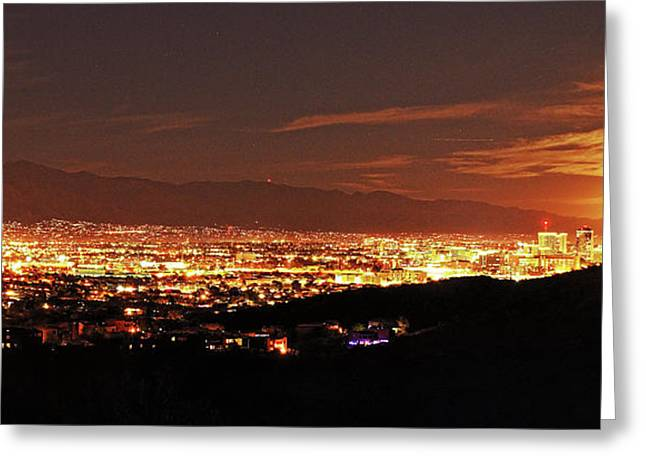 Lights Of Tucson And Moonrise Greeting Card