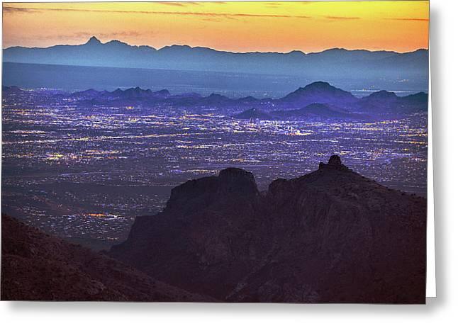 Lights Of Tucson At Twilight  Greeting Card