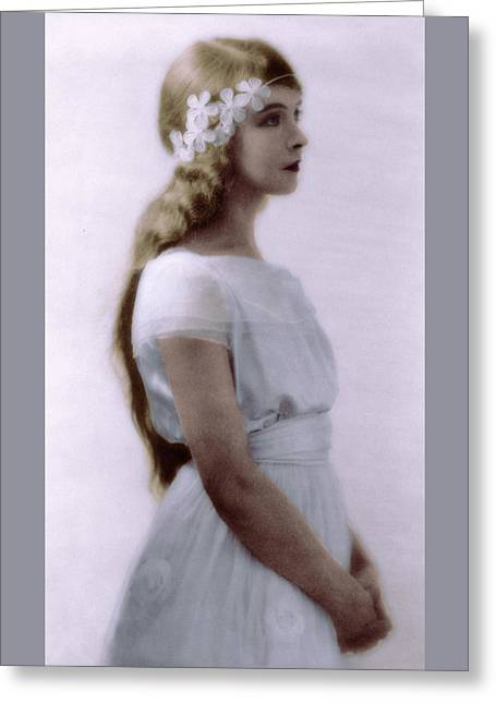 Greeting Card featuring the photograph Lillian Gish Colorized by Robert G Kernodle