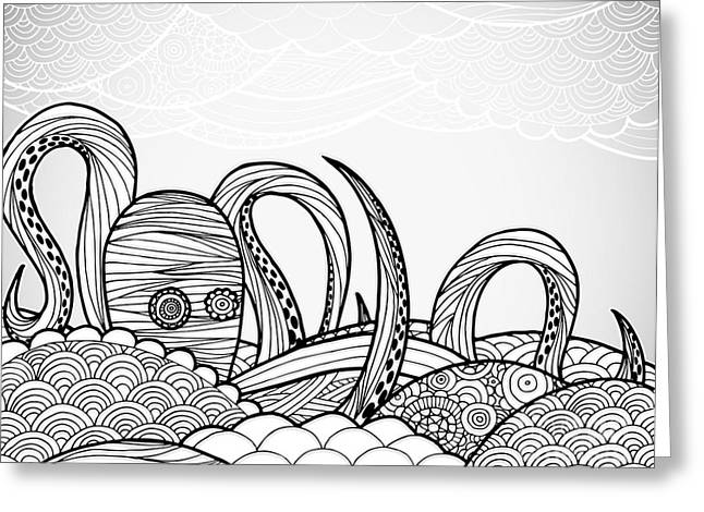 Line Art Octopus In Textured Waves Greeting Card