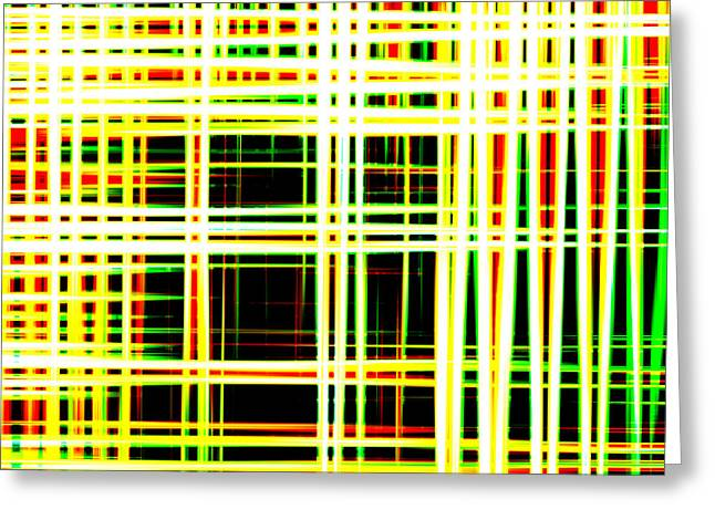 Lines And Squares In Color Waves - Plb418 Greeting Card