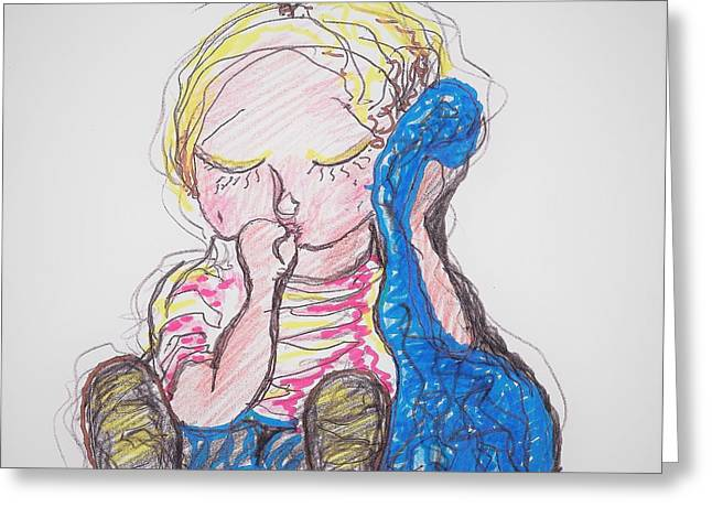 Linus And Blanky After Charles Shultz Greeting Card