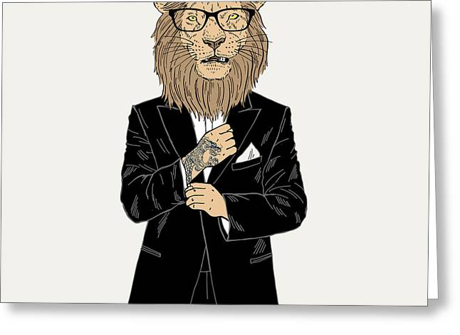 Lion Dressed Up In Tuxedo With Tattoo Greeting Card by Olga angelloz