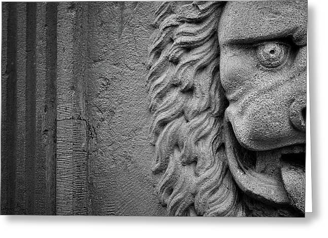 Greeting Card featuring the photograph Lion Statue Portrait by Nathan Bush