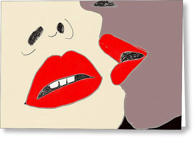 Greeting Card featuring the drawing Lips by W And F Kreations