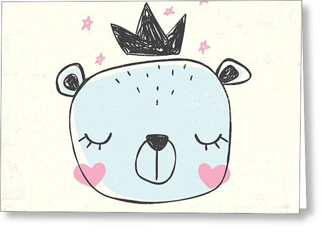 Little Bear Head Drawing For Baby Tee Greeting Card