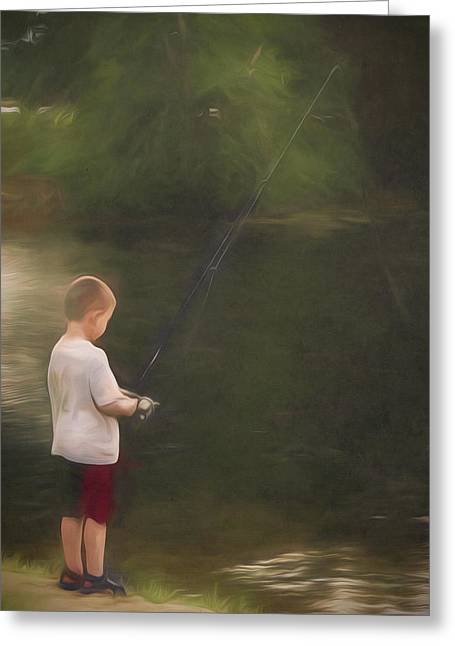 Little Boy Fishing Greeting Card