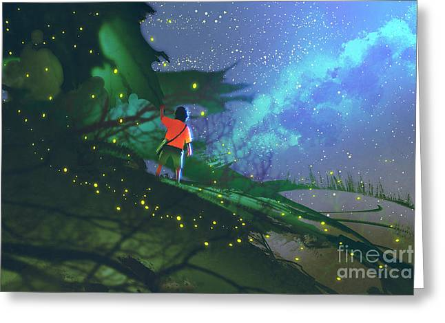 Little Boy Standing On Giant Leaves Greeting Card