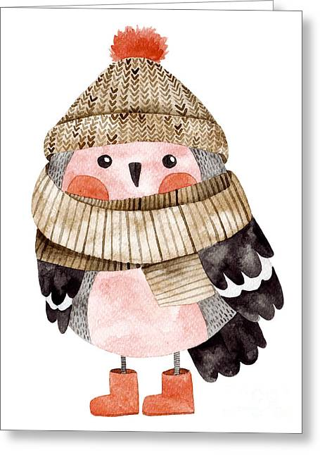 Little Cute Bullfinch With Winter Hat Greeting Card