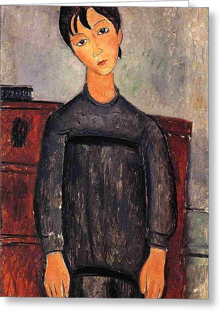 Little Girl In Black Apron - 1918 - Kunstmuseum Basel - Painting - Oil On Canvas Greeting Card