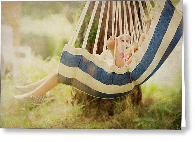 Little Girl  In Swing. Greeting Card