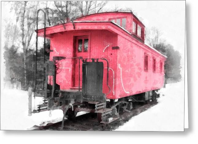 Little Red Caboose Watercolor Greeting Card