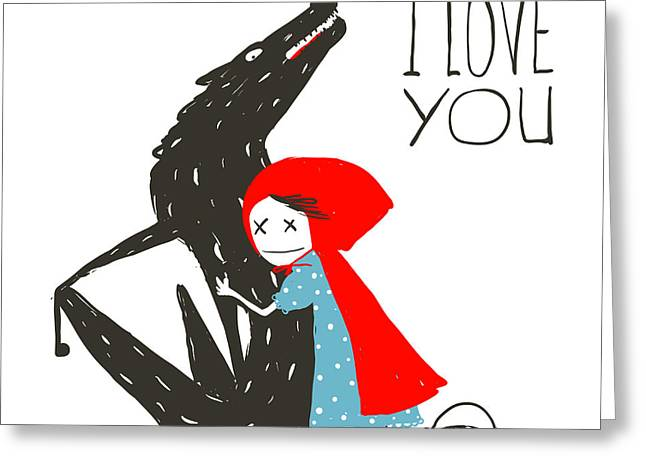 Little Red Riding Hood Loves Black Greeting Card