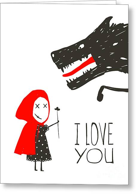 Little Red Riding Presenting Flower To Greeting Card