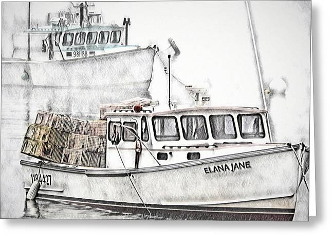 Greeting Card featuring the digital art Lobster Boat - Mount Desert Island by Pennie McCracken