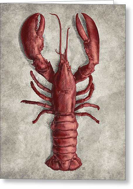 Greeting Card featuring the drawing Lobster by Clint Hansen
