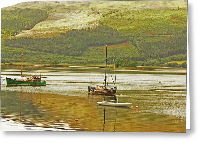 Loch Leven. The Boats At Ballachulish Greeting Card