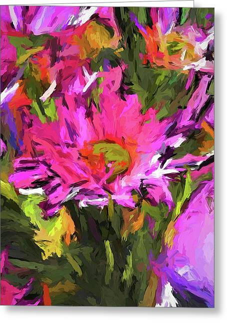 Lolly Pink Daisy Flower Greeting Card