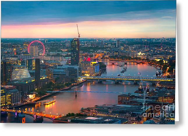 London At Sunset, Panoramic View Greeting Card