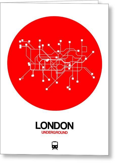 London Red Subway Map Greeting Card