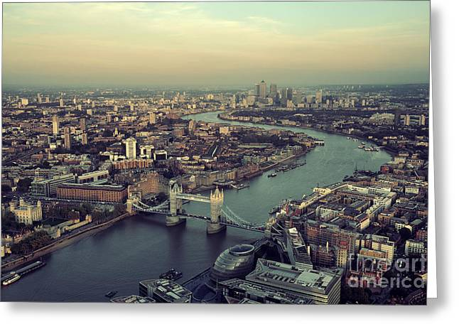 London Rooftop View Panorama At Sunset Greeting Card