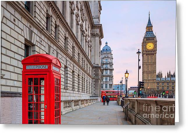 London Skyline With Big Ben And Houses Greeting Card