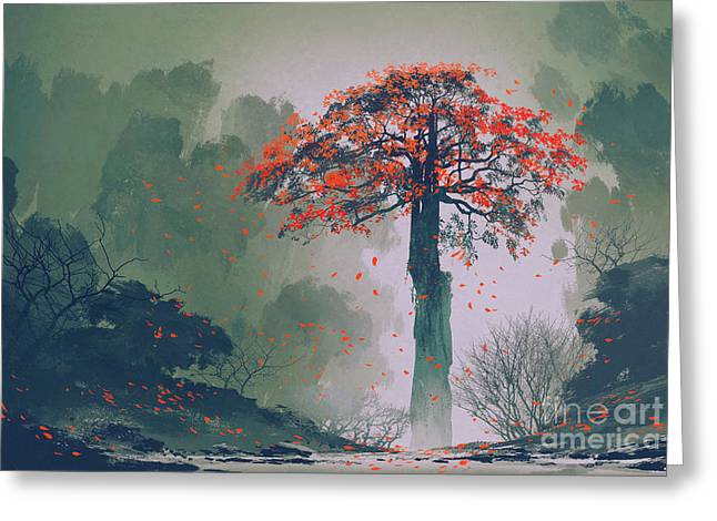 Lonely Red Autumn Tree With Falling Greeting Card by Tithi Luadthong