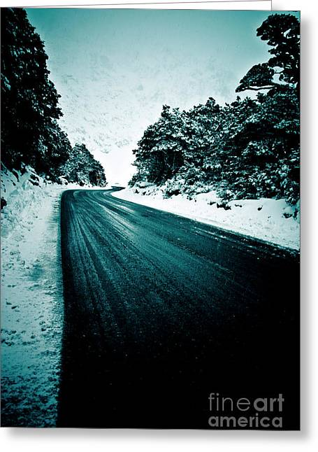 Lonely Road In The Countryside For A Car Trip And Disconnect From Stress Greeting Card