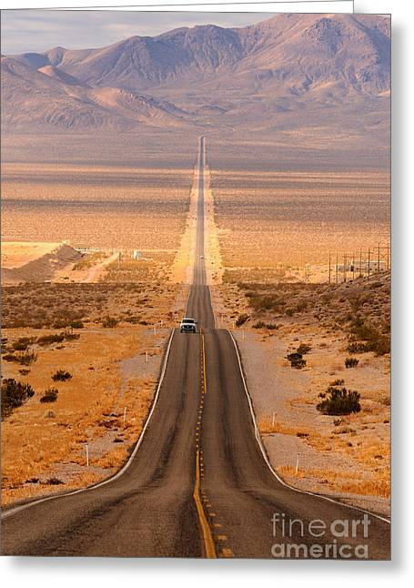 Long Desert Highway Leading Into Death Greeting Card