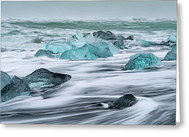 Long Exposure At The Jokulsarlon Ice Beach Greeting Card