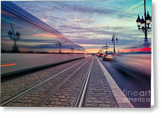 Long Exposure Of A Tram Passing On The Greeting Card