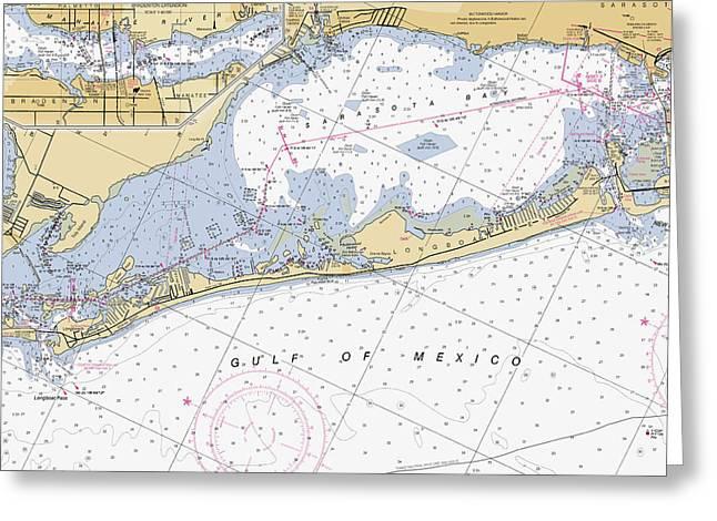Longboat Ket Florida Noaa Nautical Chart Greeting Card