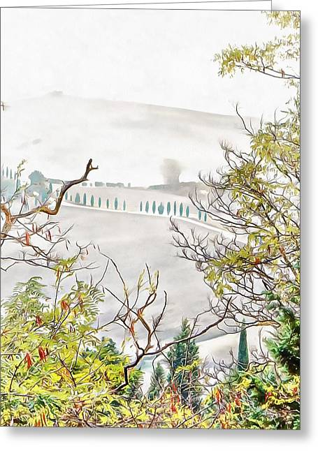 Greeting Card featuring the photograph Look Through Tuscan Autumn Foliage by Dorothy Berry-Lound