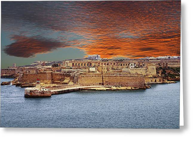 Looking Across Harbor From Fort St Elmo To  Fort Rikasoli Greeting Card
