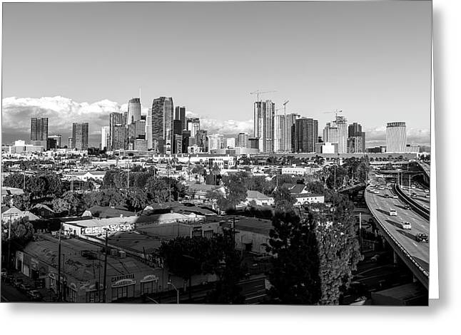 Los Angeles Skyline Looking East 2.9.19 - Black And White Greeting Card