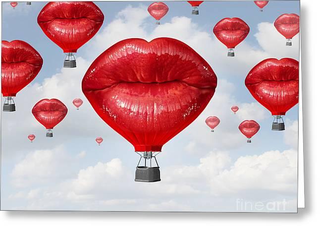 Love Balloons As A Hot Air Balloon Made Greeting Card