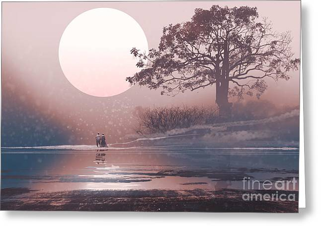 Love Couple In Winter Landscape With Greeting Card