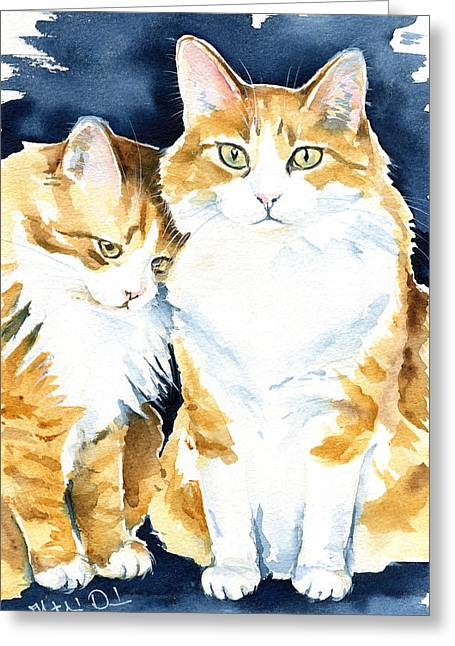 Love Me Meow Cat Painting Greeting Card