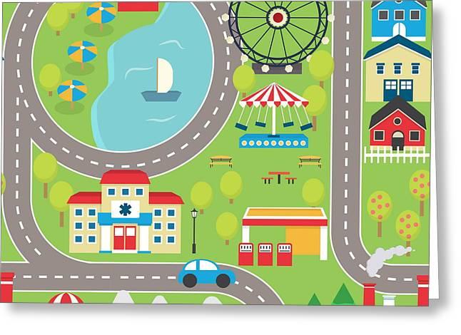 Lovely City Landscape Car Track Greeting Card by Medejaja