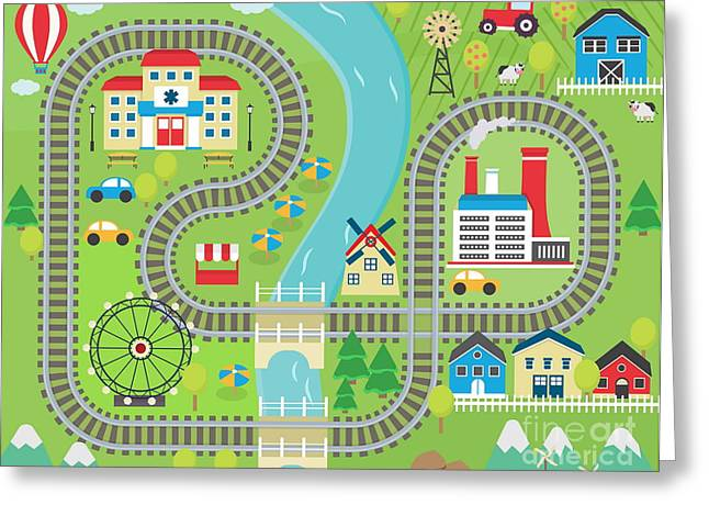 Lovely City Landscape Train Track Play Greeting Card
