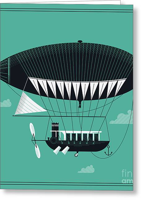 Lovely Vector Airship Illustration | Greeting Card by Mascha Tace