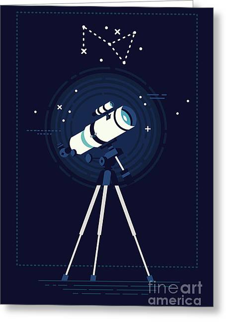 Lovely Vector Background On Astronomy Greeting Card