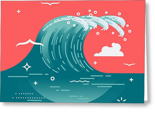 Lovely Vector Background On Large Ocean Greeting Card by Mascha Tace