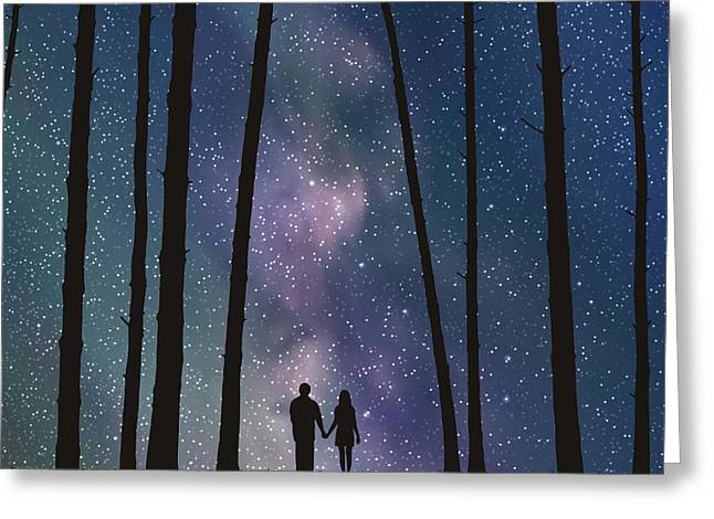 Lovers In Forest. Vector Illustration Greeting Card