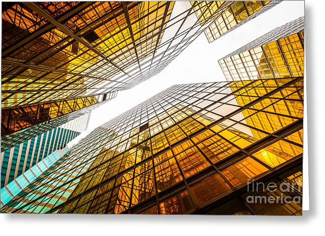 Low Angle View Of Modern Skyscraper Greeting Card