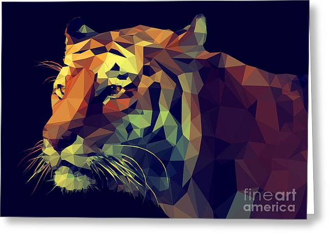 Low Poly Design. Tiger Illustration Greeting Card