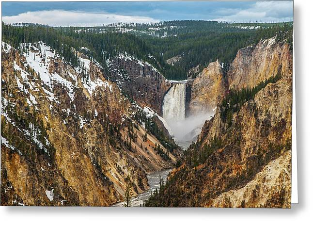 Greeting Card featuring the photograph Lower Yellowstone Falls - Horizontal by Matthew Irvin