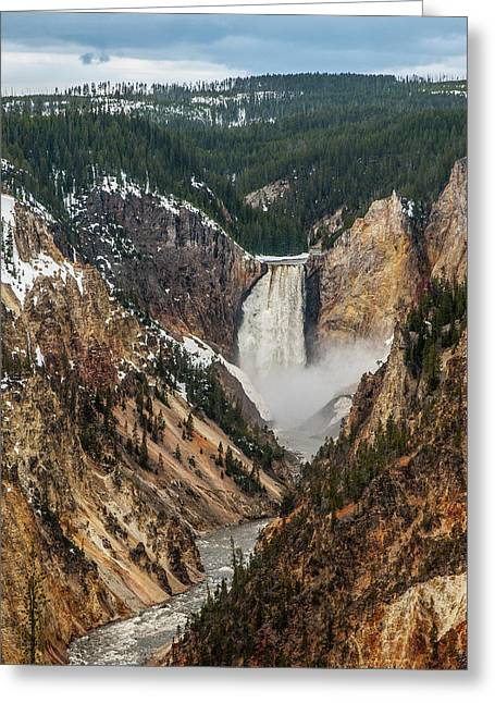 Greeting Card featuring the photograph Lower Yellowstone Falls by Matthew Irvin