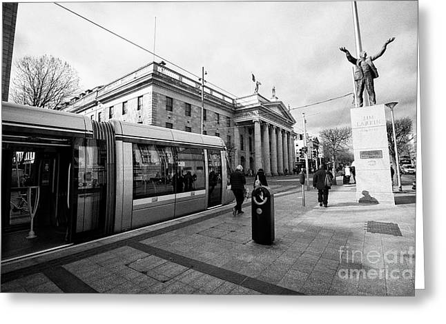 Luas The Gpo And Jim Larkin Statue On Oconnell Street Dublin Republic Of Ireland Europe Greeting Card by Joe Fox