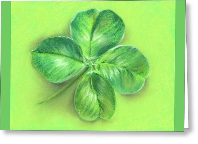 Greeting Card featuring the pastel Lucky Four Leaf Clover by MM Anderson
